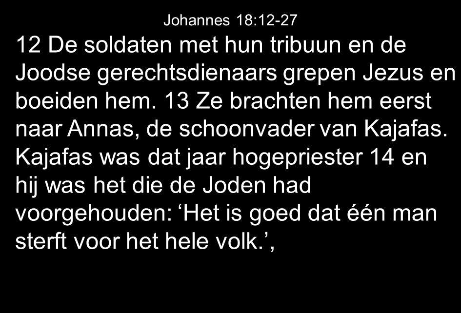 12 De soldaten met hun tribuun en de Joodse gerechtsdienaars grepen Jezus en boeiden hem.
