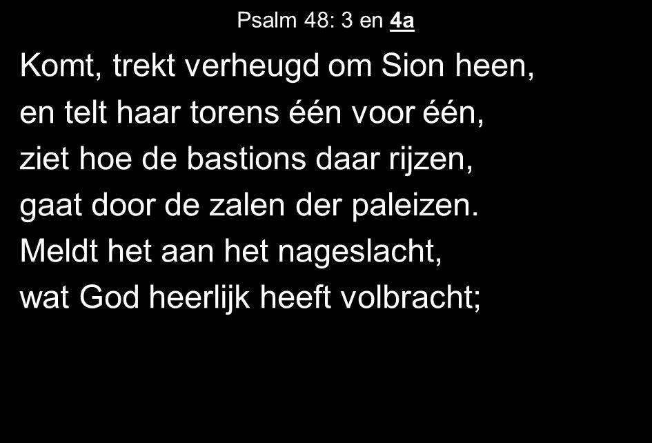 Psalm 48: 3 en 4a Komt, trekt verheugd om Sion heen, en telt haar torens één voor één, ziet hoe de bastions daar rijzen, gaat door de zalen der paleizen.