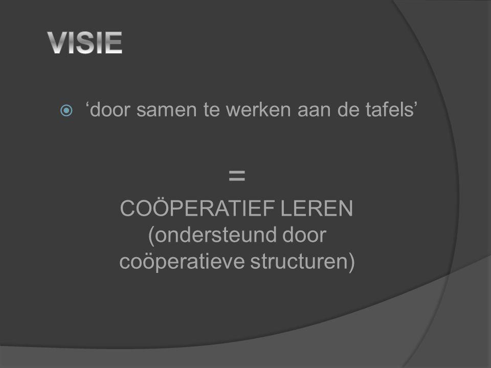  'door samen te werken aan de tafels' = COÖPERATIEF LEREN (ondersteund door coöperatieve structuren)