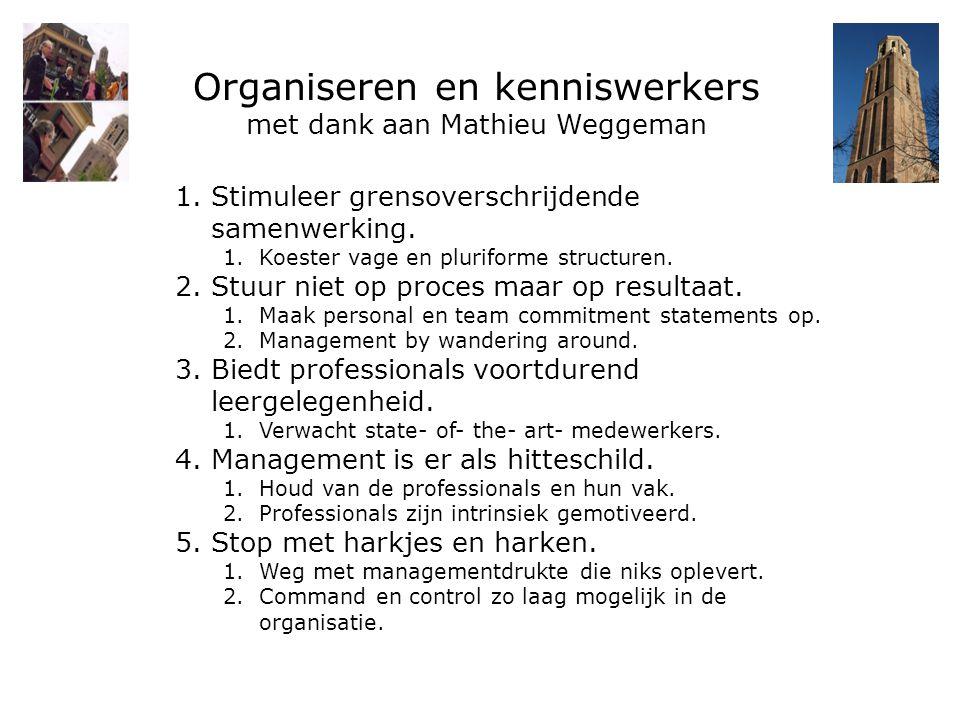 Organiseren en kenniswerkers met dank aan Mathieu Weggeman 1.Stimuleer grensoverschrijdende samenwerking. 1.Koester vage en pluriforme structuren. 2.S