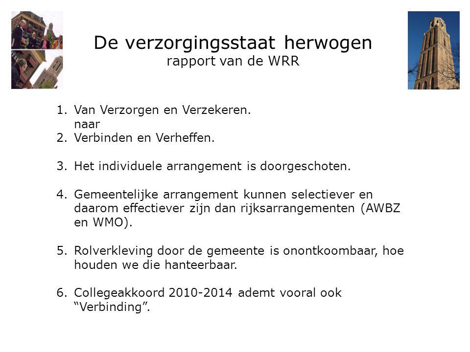 De verzorgingsstaat herwogen rapport van de WRR 1.Van Verzorgen en Verzekeren. naar 2.Verbinden en Verheffen. 3.Het individuele arrangement is doorges