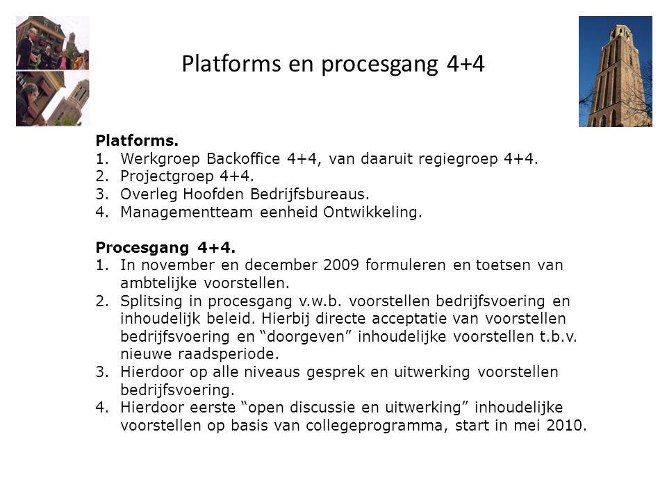 Platforms en procesgang 4+4 Platforms. 1.Werkgroep Backoffice 4+4, van daaruit regiegroep 4+4. 2.Projectgroep 4+4. 3.Overleg Hoofden Bedrijfsbureaus.