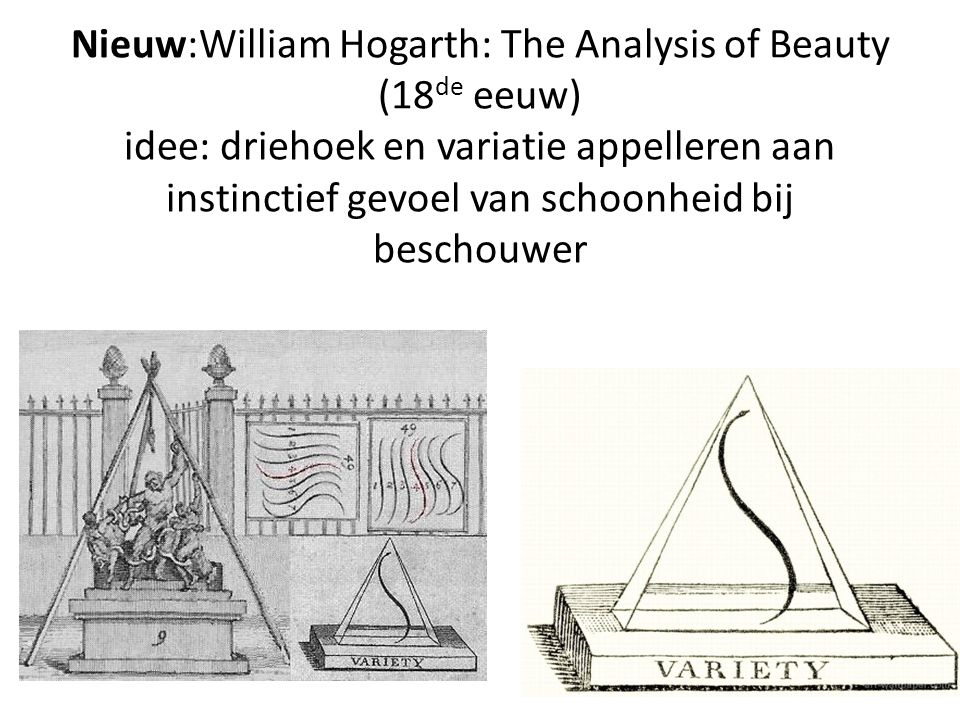 Nieuw:William Hogarth: The Analysis of Beauty (18 de eeuw) idee: driehoek en variatie appelleren aan instinctief gevoel van schoonheid bij beschouwer