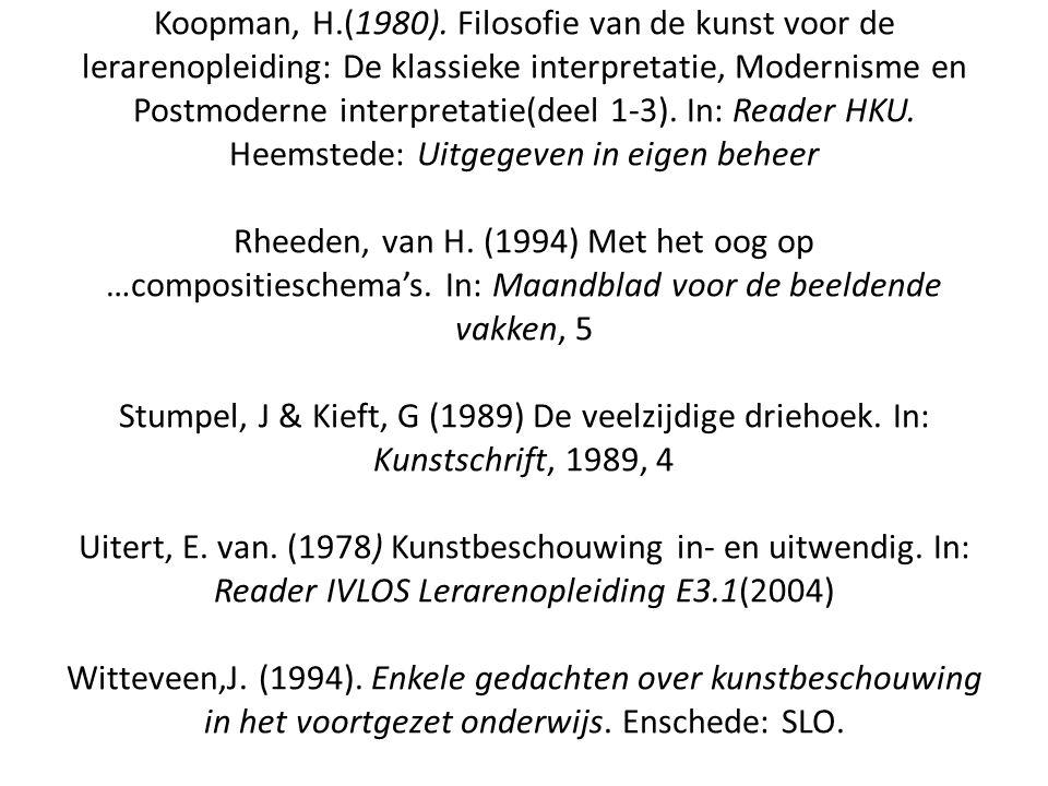 Koopman, H.(1980). Filosofie van de kunst voor de lerarenopleiding: De klassieke interpretatie, Modernisme en Postmoderne interpretatie(deel 1-3). In: