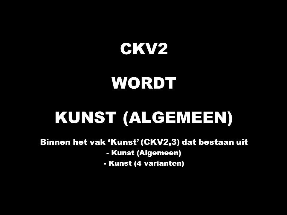 KUNST Wijzigingen op het gebied van de Kunstvakken in de Tweede Fase (Per 1 augustus 2007) CKV1 wordt CKV Leerlingen van het VWO kunnen CKV of KCV kiezen CKV2,3 heet vanaf 2007 Kunst CKV2 wordt Kunst (Algemeen) CKV3 wordt Kunst (4 varianten): Kunst (Beeldende vormgeving), Kunst (Drama), Kunst (Dans) en Kunst (Muziek).