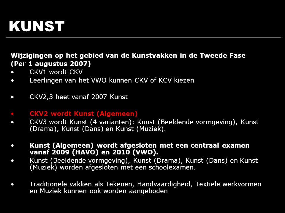 KUNST Wijzigingen op het gebied van de Kunstvakken in de Tweede Fase (Per 1 augustus 2007) CKV1 wordt CKV Leerlingen van het VWO kunnen CKV of KCV kie