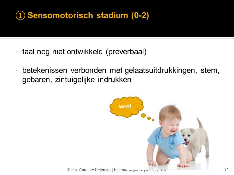 © drs. Caroline Heijmans   heijmans@ator-opleidingen.nl ① Sensomotorisch stadium (0-2)  taal nog niet ontwikkeld (preverbaal)  betekenissen verbonde