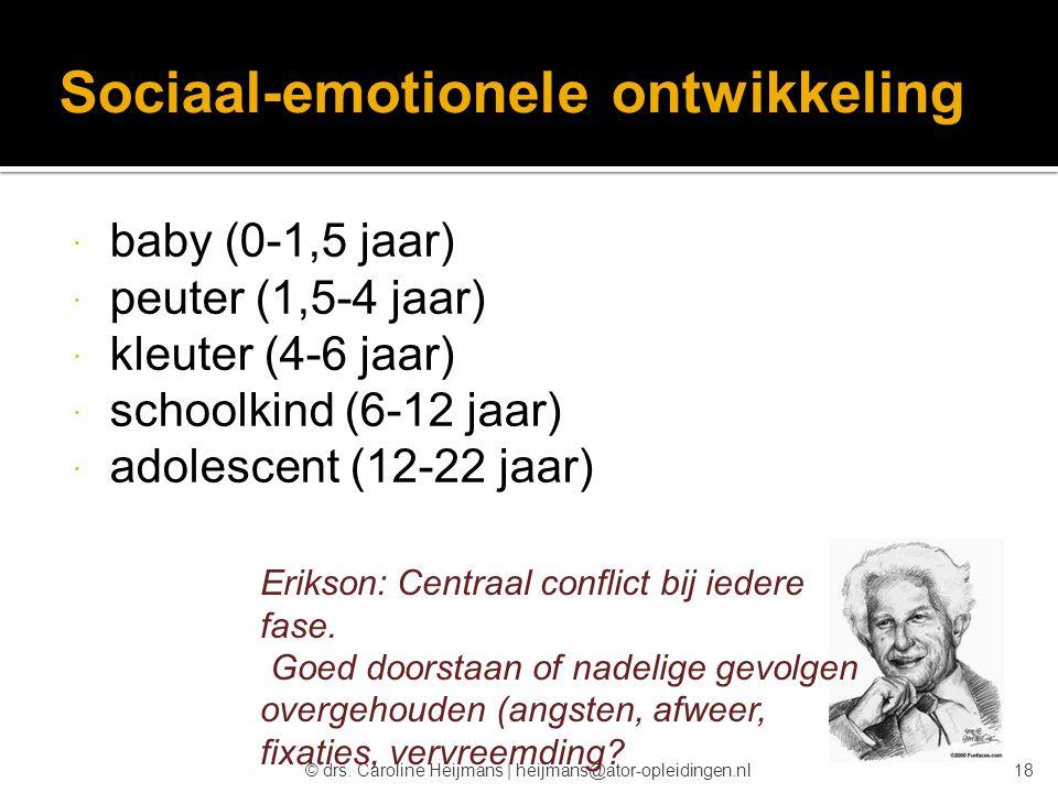 © drs. Caroline Heijmans   heijmans@ator-opleidingen.nl Sociaal-emotionele ontwikkeling  baby (0-1,5 jaar)  peuter (1,5-4 jaar)  kleuter (4-6 jaar)