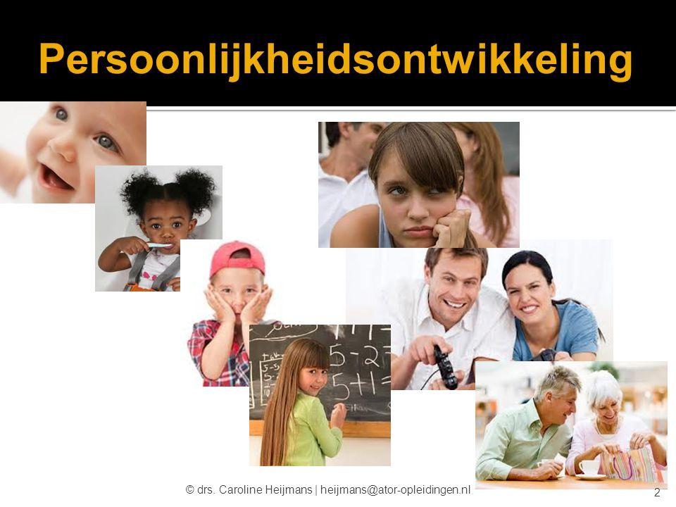 Persoonlijkheidsontwikkeling © drs. Caroline Heijmans   heijmans@ator-opleidingen.nl 2