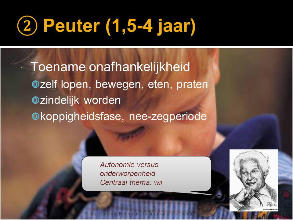 © drs. Caroline Heijmans   heijmans@ator-opleidingen.nl ② Peuter (1,5-4 jaar)  Toename onafhankelijkheid  zelf lopen, bewegen, eten, praten  zindel