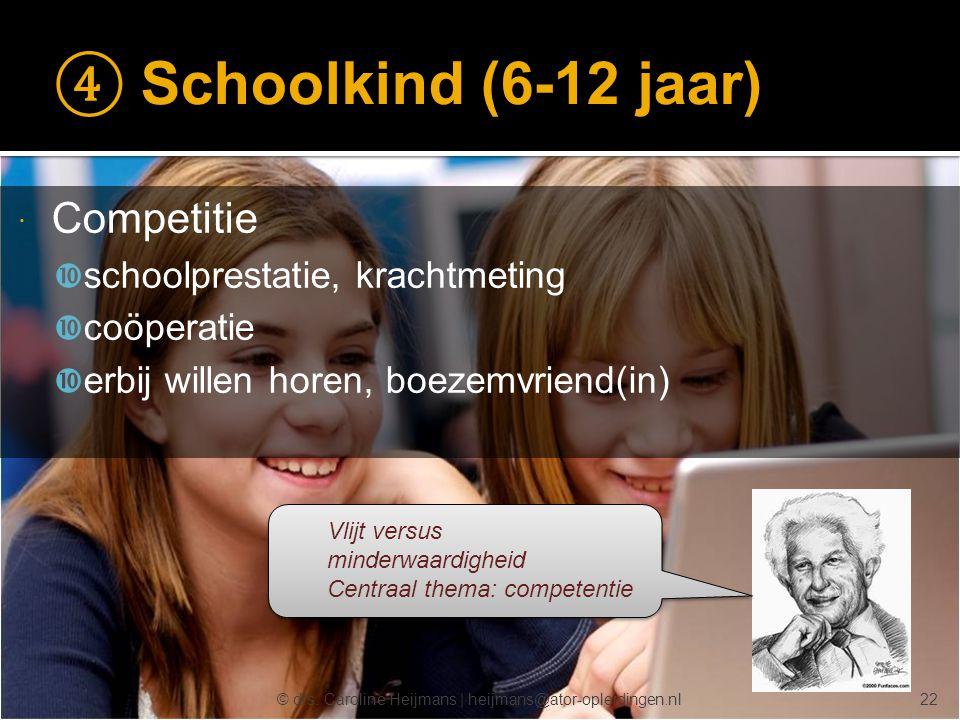 © drs. Caroline Heijmans   heijmans@ator-opleidingen.nl ④ Schoolkind (6-12 jaar)  Competitie  schoolprestatie, krachtmeting  coöperatie  erbij wil