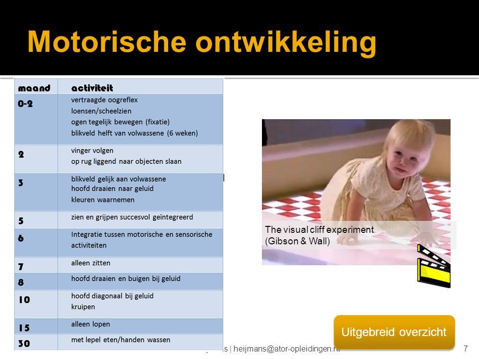 © drs. Caroline Heijmans   heijmans@ator-opleidingen.nl Motorische ontwikkeling The visual cliff experiment (Gibson & Wall) Uitgebreid overzicht 7