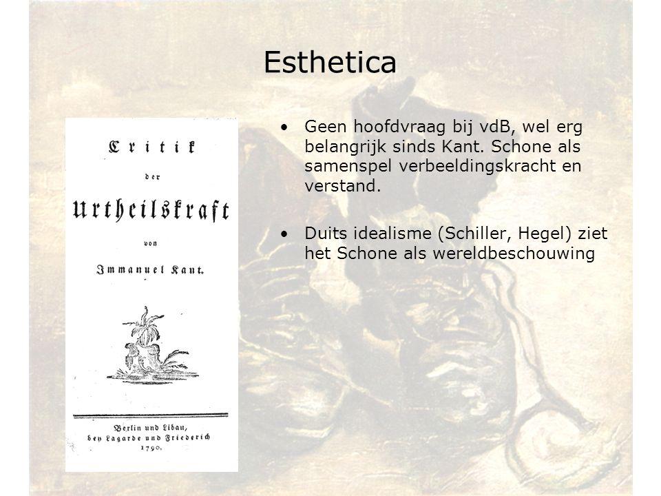 Esthetica Geen hoofdvraag bij vdB, wel erg belangrijk sinds Kant. Schone als samenspel verbeeldingskracht en verstand. Duits idealisme (Schiller, Hege