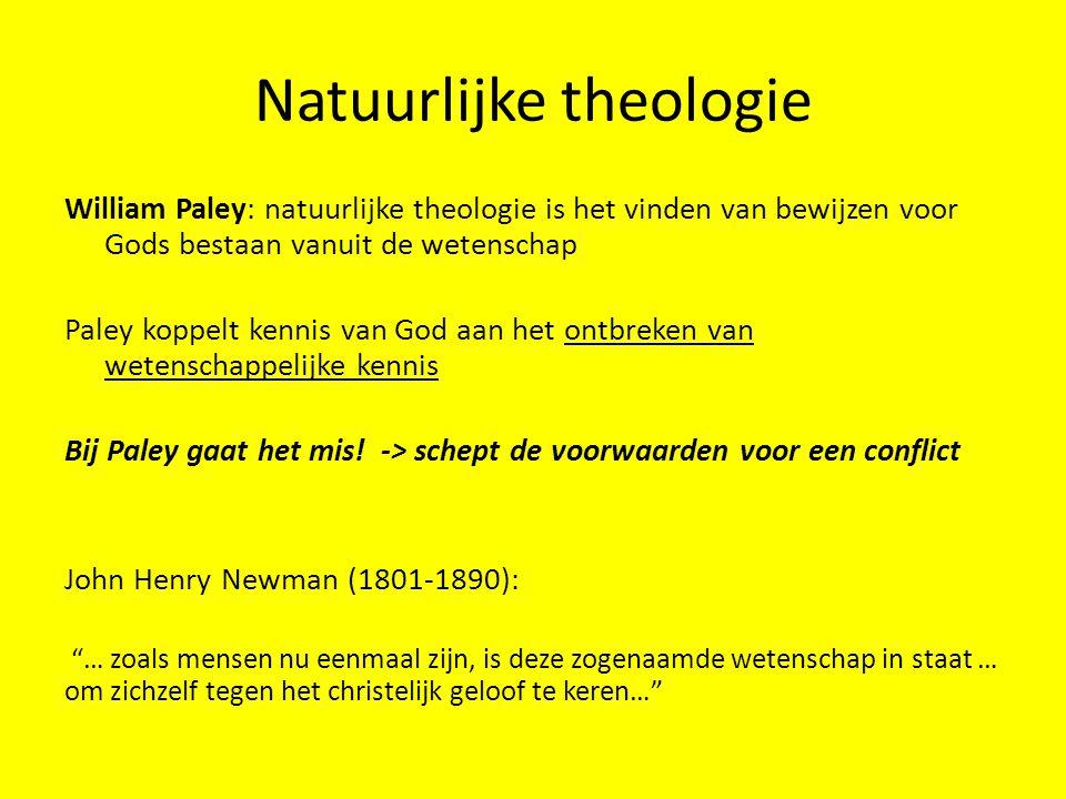Natuurlijke theologie William Paley: natuurlijke theologie is het vinden van bewijzen voor Gods bestaan vanuit de wetenschap Paley koppelt kennis van