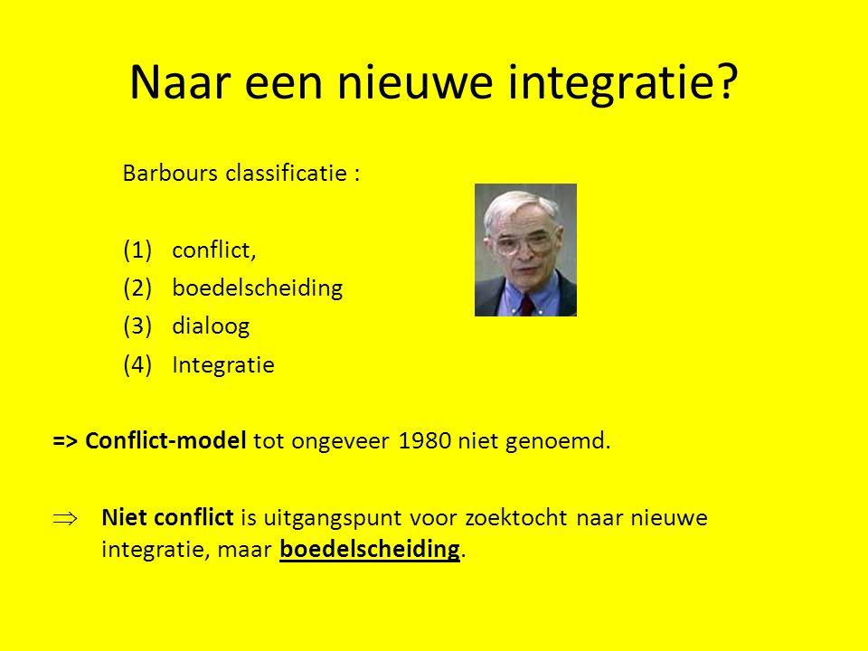 Naar een nieuwe integratie? Barbours classificatie : (1)conflict, (2)boedelscheiding (3)dialoog (4)Integratie => Conflict-model tot ongeveer 1980 niet