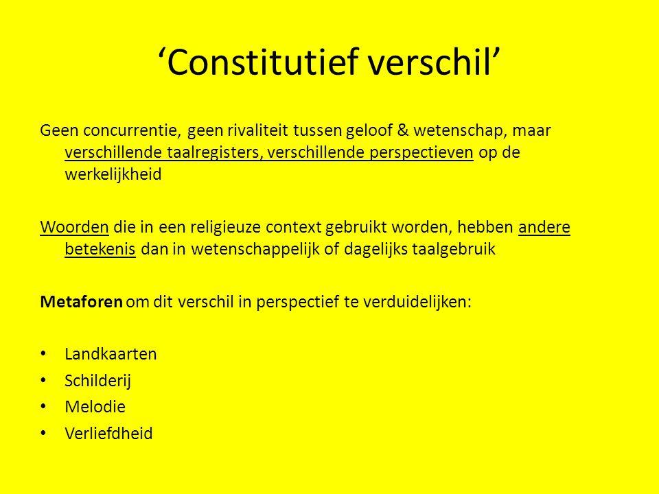 'Constitutief verschil' Geen concurrentie, geen rivaliteit tussen geloof & wetenschap, maar verschillende taalregisters, verschillende perspectieven o