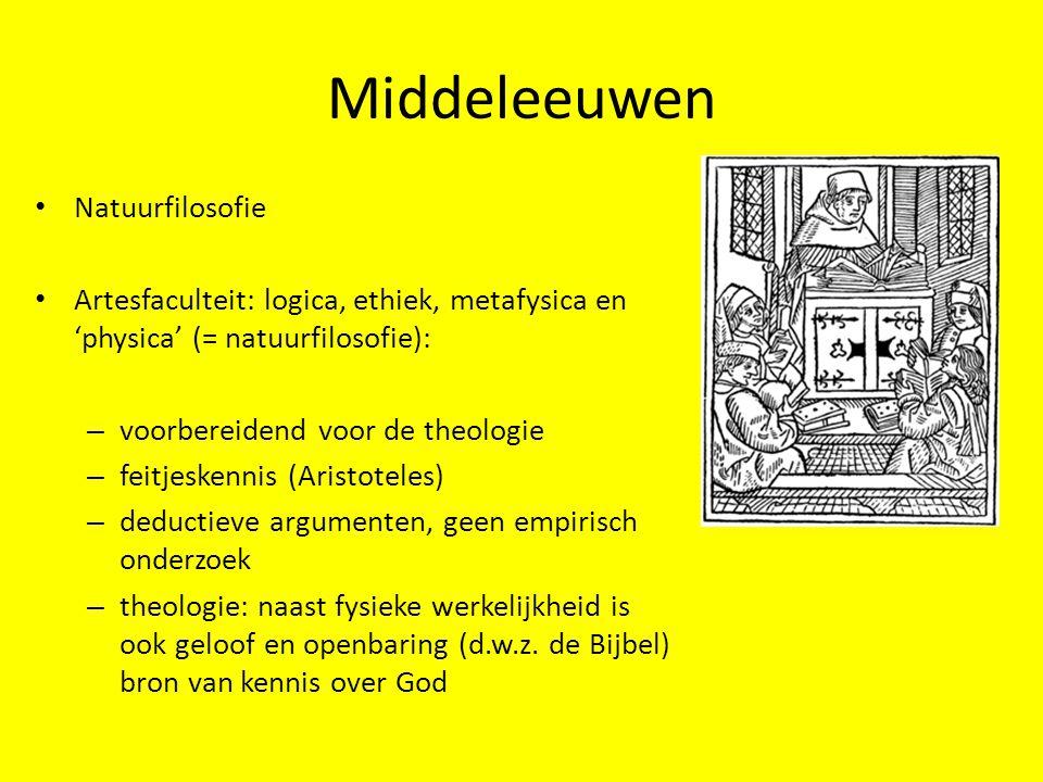 Middeleeuwen Natuurfilosofie Artesfaculteit: logica, ethiek, metafysica en 'physica' (= natuurfilosofie): – voorbereidend voor de theologie – feitjesk