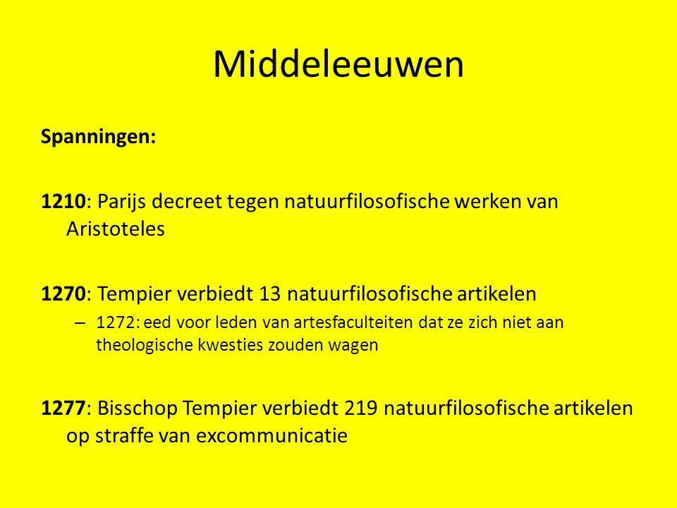 Middeleeuwen Spanningen: 1210: Parijs decreet tegen natuurfilosofische werken van Aristoteles 1270: Tempier verbiedt 13 natuurfilosofische artikelen –