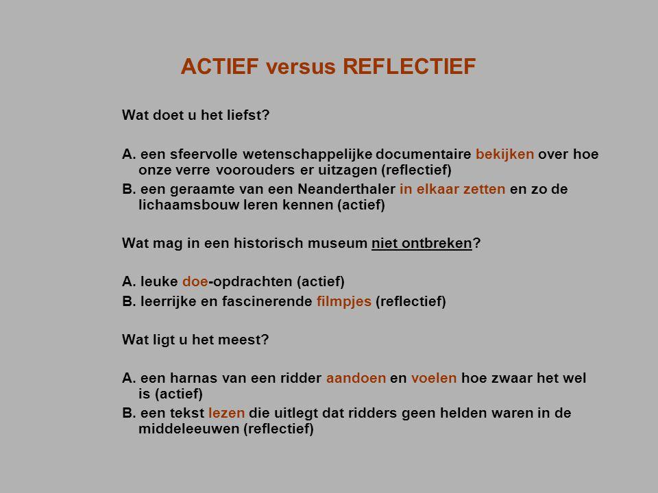 ACTIEF versus REFLECTIEF Wat doet u het liefst? A. een sfeervolle wetenschappelijke documentaire bekijken over hoe onze verre voorouders er uitzagen (