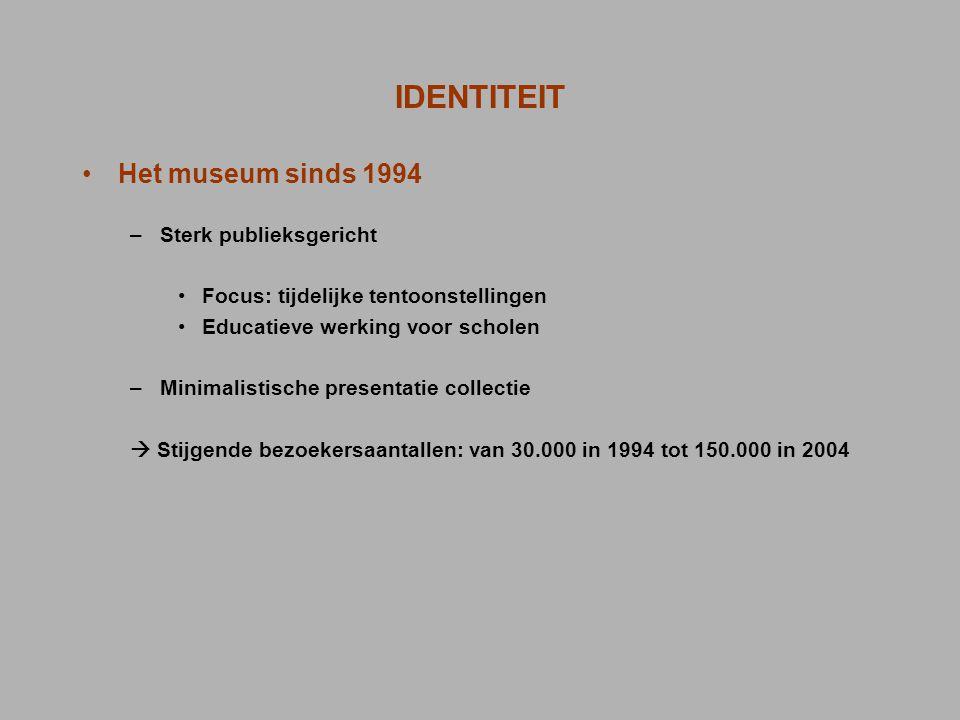 IDENTITEIT Het museum sinds 1994 –Sterk publieksgericht Focus: tijdelijke tentoonstellingen Educatieve werking voor scholen –Minimalistische presentat