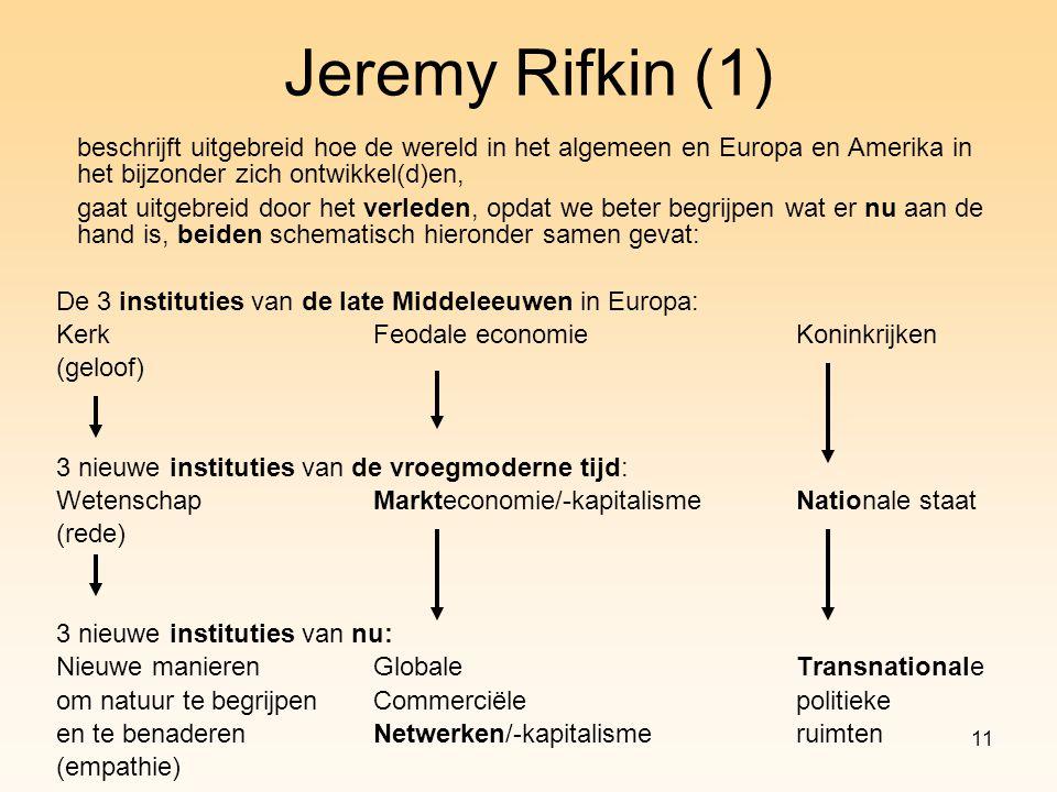 11 Jeremy Rifkin (1) beschrijft uitgebreid hoe de wereld in het algemeen en Europa en Amerika in het bijzonder zich ontwikkel(d)en, gaat uitgebreid do