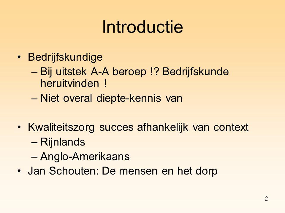 2 Introductie Bedrijfskundige –Bij uitstek A-A beroep !? Bedrijfskunde heruitvinden ! –Niet overal diepte-kennis van Kwaliteitszorg succes afhankelijk