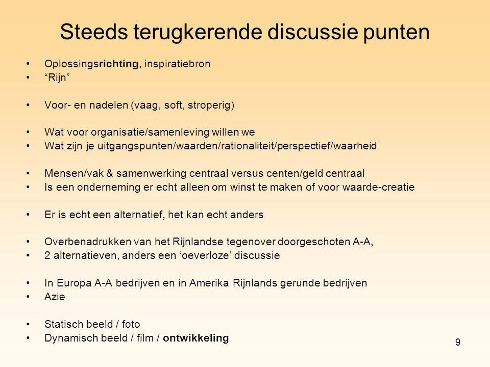 """9 Steeds terugkerende discussie punten Oplossingsrichting, inspiratiebron """"Rijn"""" Voor- en nadelen (vaag, soft, stroperig) Wat voor organisatie/samenle"""