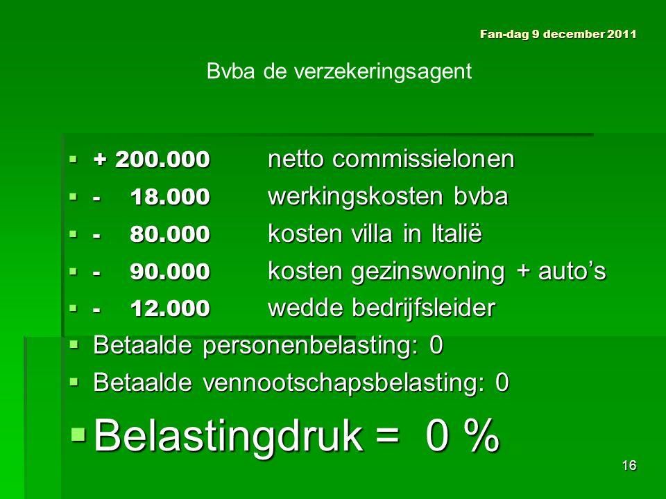  + 200.000 netto commissielonen  - 18.000 werkingskosten bvba  - 80.000 kosten villa in Italië  - 90.000 kosten gezinswoning + auto's  - 12.000 wedde bedrijfsleider  Betaalde personenbelasting: 0  Betaalde vennootschapsbelasting: 0  Belastingdruk = 0 % Fan-dag 9 december 2011 Bvba de verzekeringsagent 16