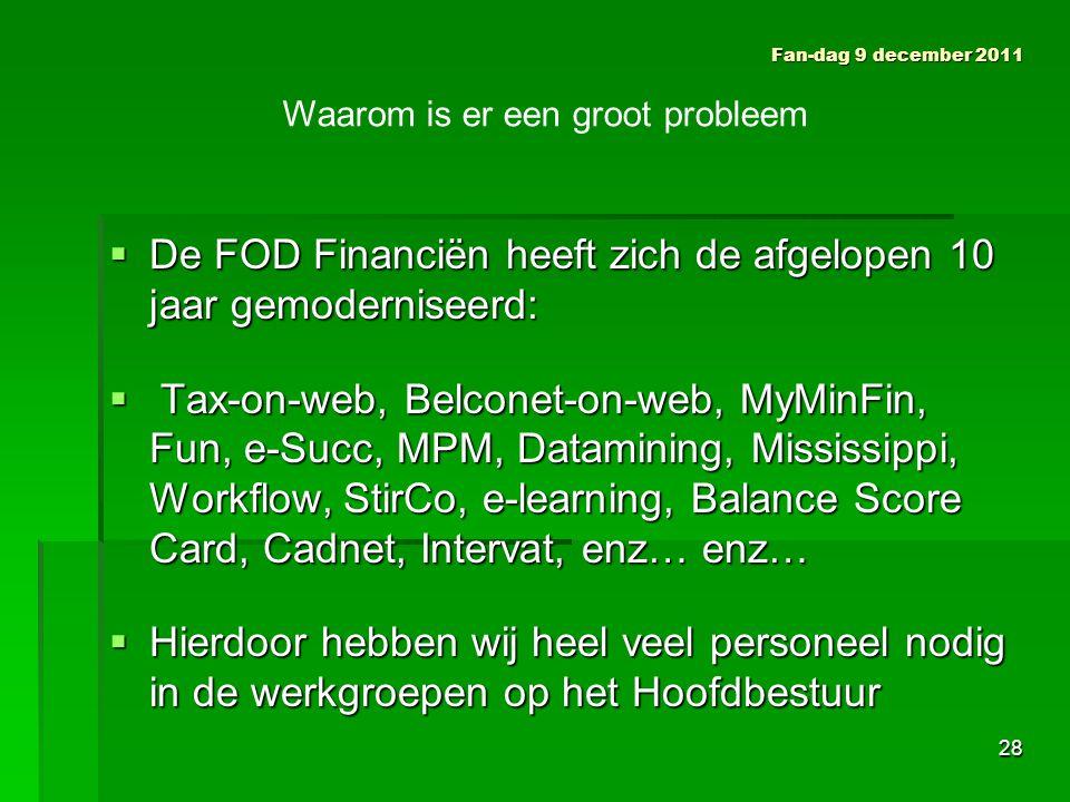  De FOD Financiën heeft zich de afgelopen 10 jaar gemoderniseerd:  Tax-on-web, Belconet-on-web, MyMinFin, Fun, e-Succ, MPM, Datamining, Mississippi, Workflow, StirCo, e-learning, Balance Score Card, Cadnet, Intervat, enz… enz…  Hierdoor hebben wij heel veel personeel nodig in de werkgroepen op het Hoofdbestuur Fan-dag 9 december 2011 Waarom is er een groot probleem 28