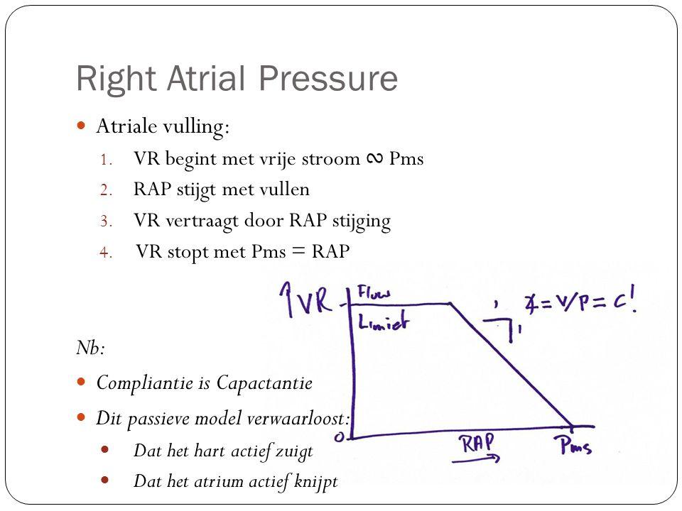 Atriale vulling: 1. VR begint met vrije stroom ∾ Pms 2. RAP stijgt met vullen 3. VR vertraagt door RAP stijging 4. VR stopt met Pms = RAP Nb: Complian