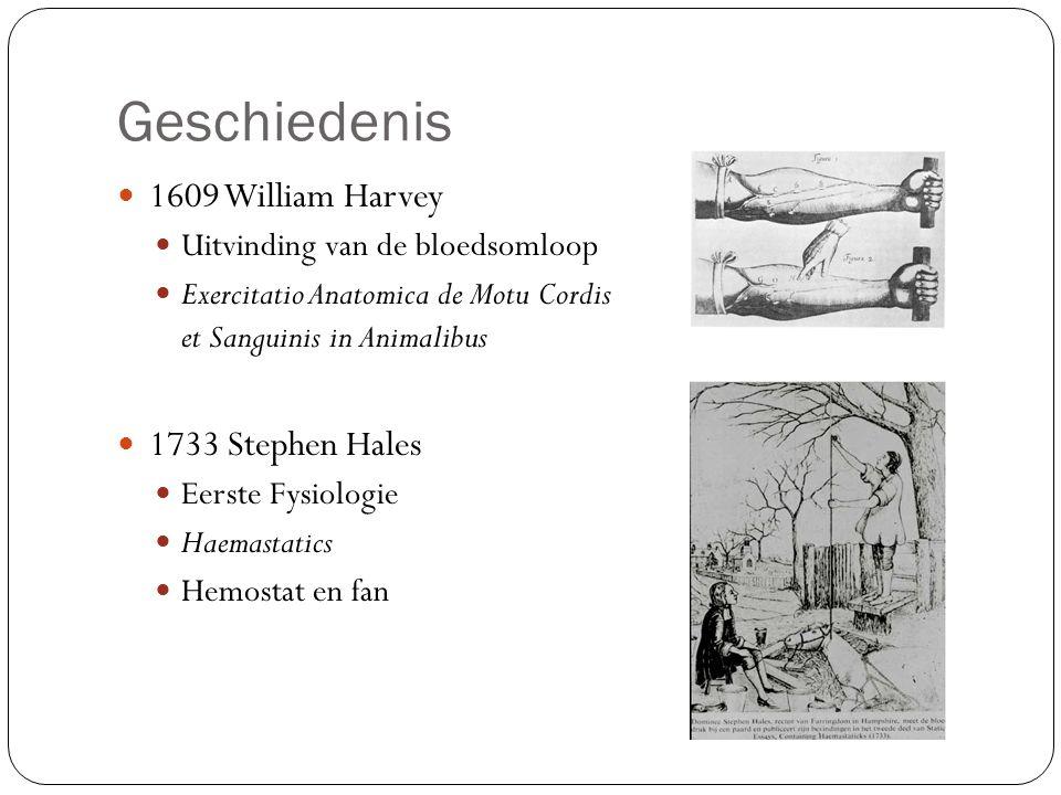 Geschiedenis 1609 William Harvey Uitvinding van de bloedsomloop Exercitatio Anatomica de Motu Cordis et Sanguinis in Animalibus 1733 Stephen Hales Eerste Fysiologie Haemastatics Hemostat en fan
