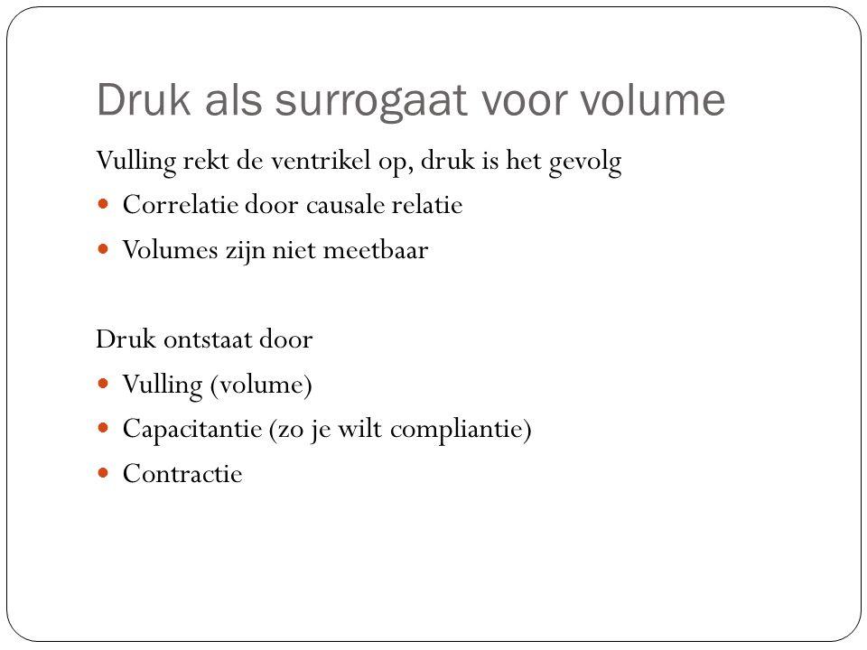 Druk als surrogaat voor volume Vulling rekt de ventrikel op, druk is het gevolg Correlatie door causale relatie Volumes zijn niet meetbaar Druk ontstaat door Vulling (volume) Capacitantie (zo je wilt compliantie) Contractie