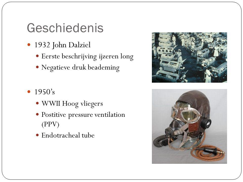 Geschiedenis 1932 John Dalziel Eerste beschrijving ijzeren long Negatieve druk beademing 1950's WWII Hoog vliegers Postitive pressure ventilation (PPV) Endotracheal tube
