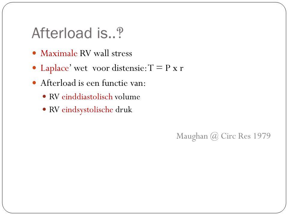 Maximale RV wall stress Laplace' wet voor distensie: T = P x r Afterload is een functie van: RV einddiastolisch volume RV eindsystolische druk Maughan @ Circ Res 1979
