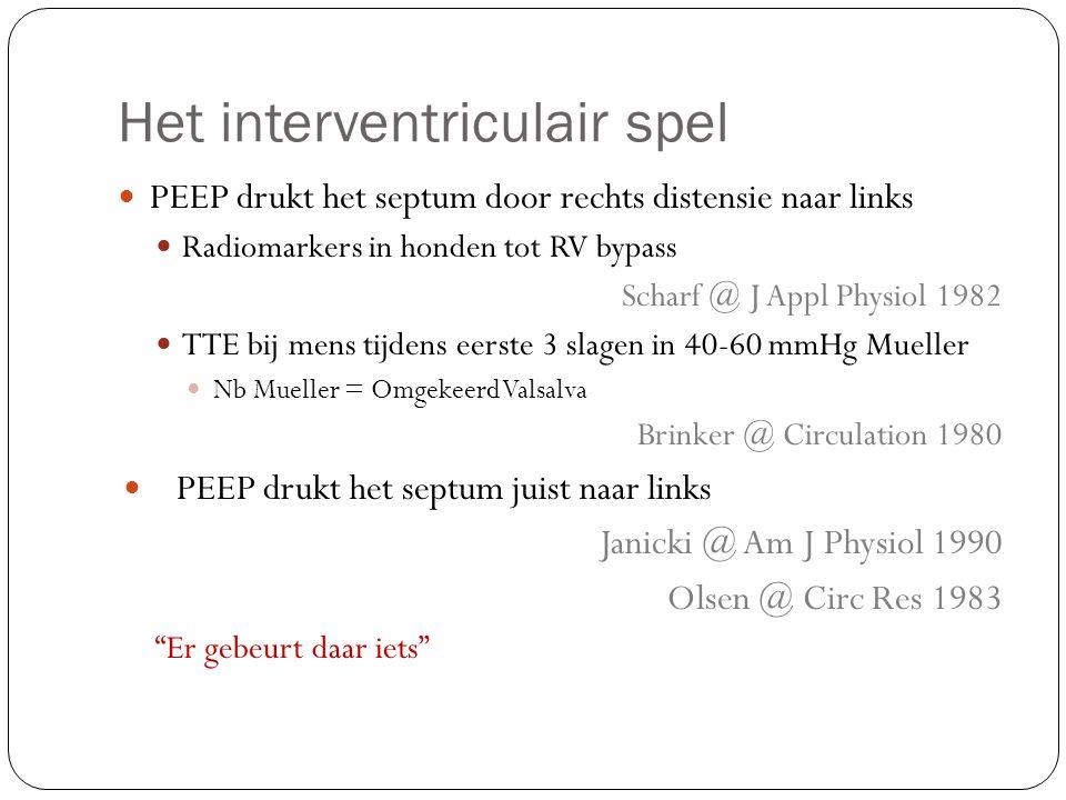 Het interventriculair spel PEEP drukt het septum door rechts distensie naar links Radiomarkers in honden tot RV bypass Scharf @ J Appl Physiol 1982 TT