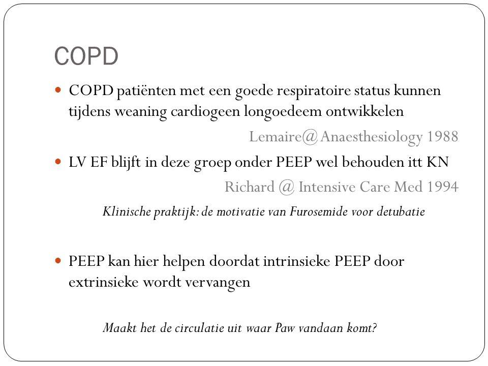 COPD COPD patiënten met een goede respiratoire status kunnen tijdens weaning cardiogeen longoedeem ontwikkelen Lemaire@ Anaesthesiology 1988 LV EF bli