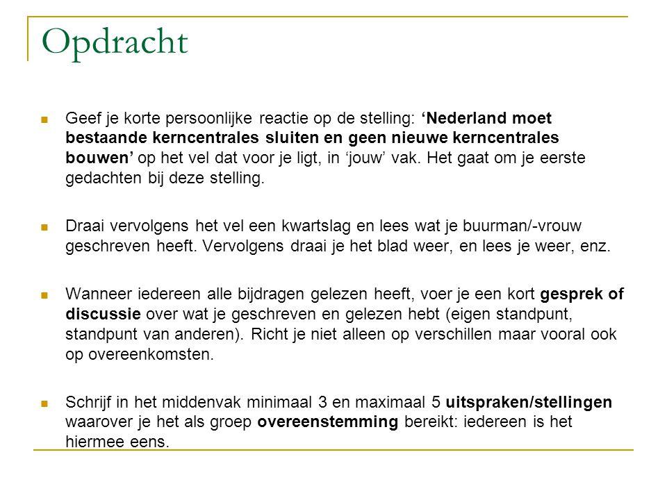 Opdracht Geef je korte persoonlijke reactie op de stelling: 'Nederland moet bestaande kerncentrales sluiten en geen nieuwe kerncentrales bouwen' op he