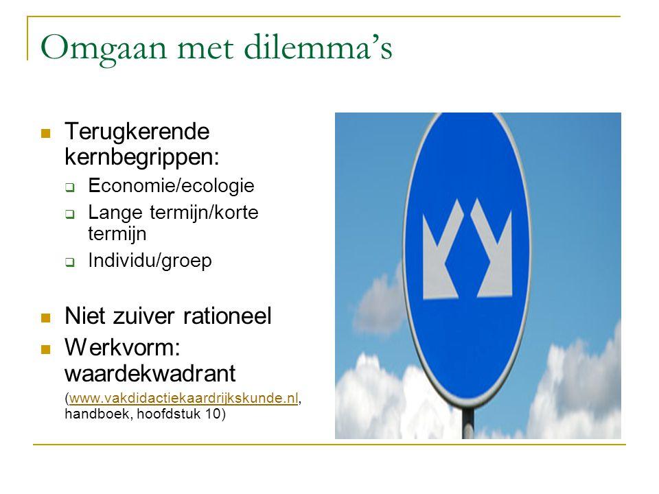 Omgaan met dilemma's Terugkerende kernbegrippen:  Economie/ecologie  Lange termijn/korte termijn  Individu/groep Niet zuiver rationeel Werkvorm: wa