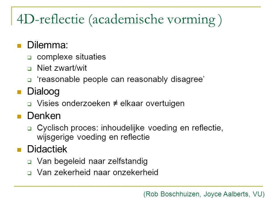 4D-reflectie (academische vorming ) Dilemma:  complexe situaties  Niet zwart/wit  'reasonable people can reasonably disagree' Dialoog  Visies onde