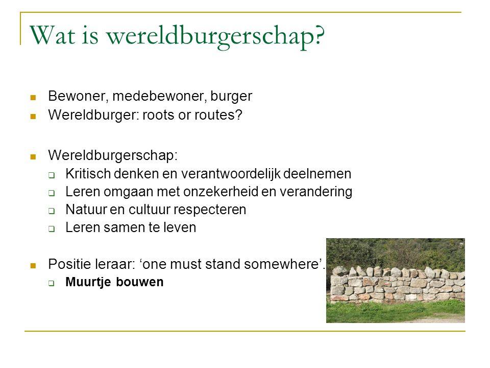 Wat is wereldburgerschap? Bewoner, medebewoner, burger Wereldburger: roots or routes? Wereldburgerschap:  Kritisch denken en verantwoordelijk deelnem