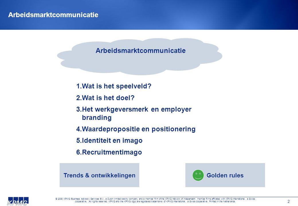 2 Arbeidsmarktcommunicatie 1.Wat is het speelveld? 2.Wat is het doel? 3.Het werkgeversmerk en employer branding 4.Waardepropositie en positionering 5.