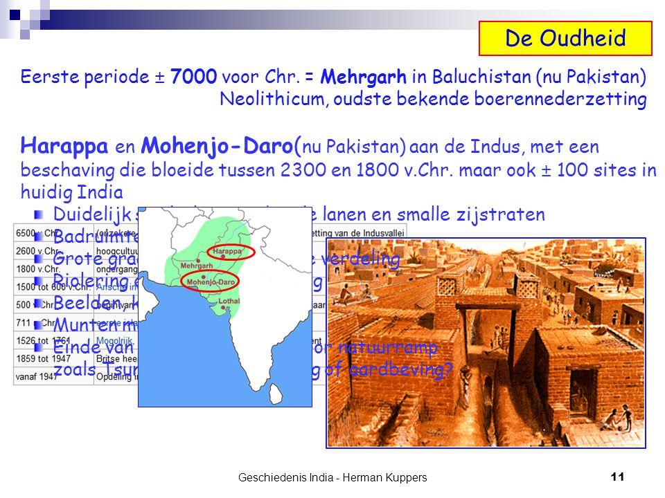 Geschiedenis India - Herman Kuppers 11 Eerste periode ± 7000 voor Chr. = Mehrgarh in Baluchistan (nu Pakistan) Neolithicum, oudste bekende boerenneder