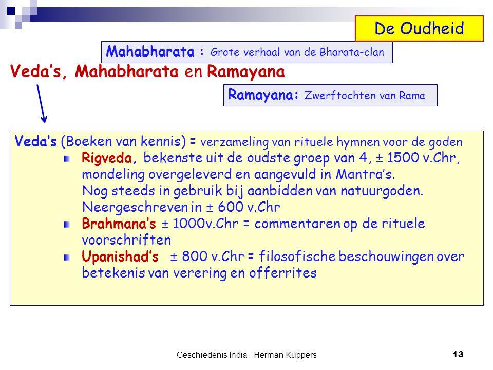 Geschiedenis India - Herman Kuppers 13 Veda's, Mahabharata en Ramayana Veda's (Boeken van kennis) = verzameling van rituele hymnen voor de goden Rigve