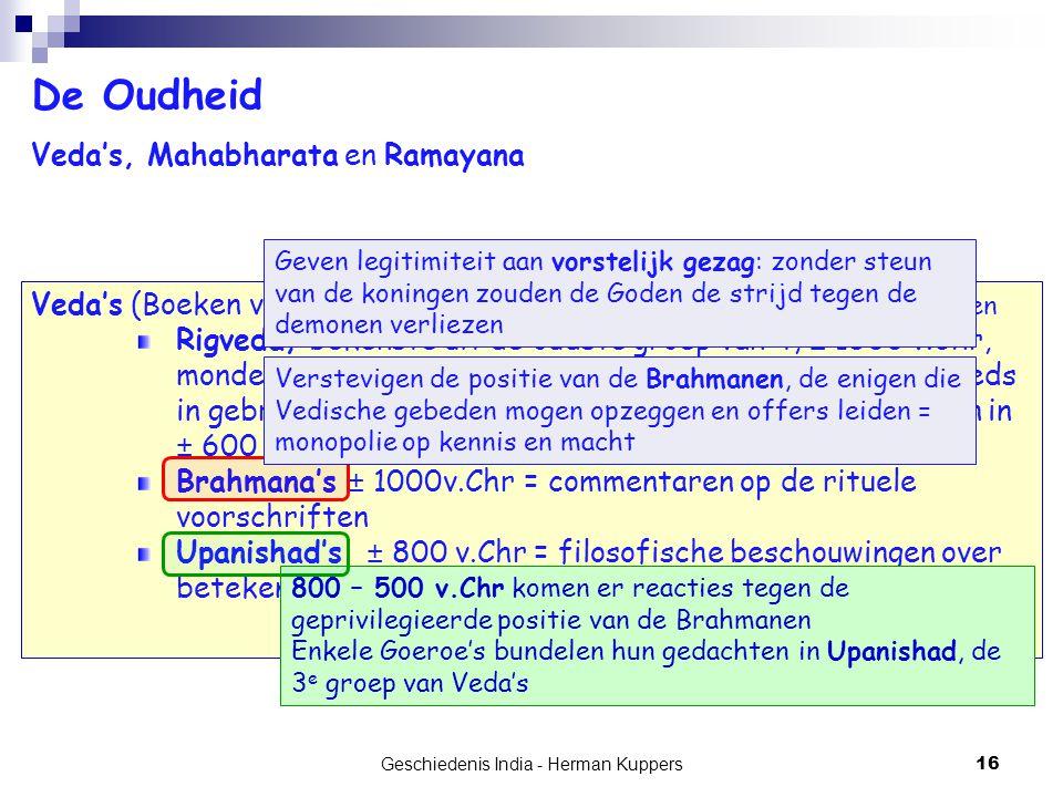 Geschiedenis India - Herman Kuppers 16 De Oudheid Veda's, Mahabharata en Ramayana Veda's (Boeken van kennis) = verzameling van rituele hymnen voor de