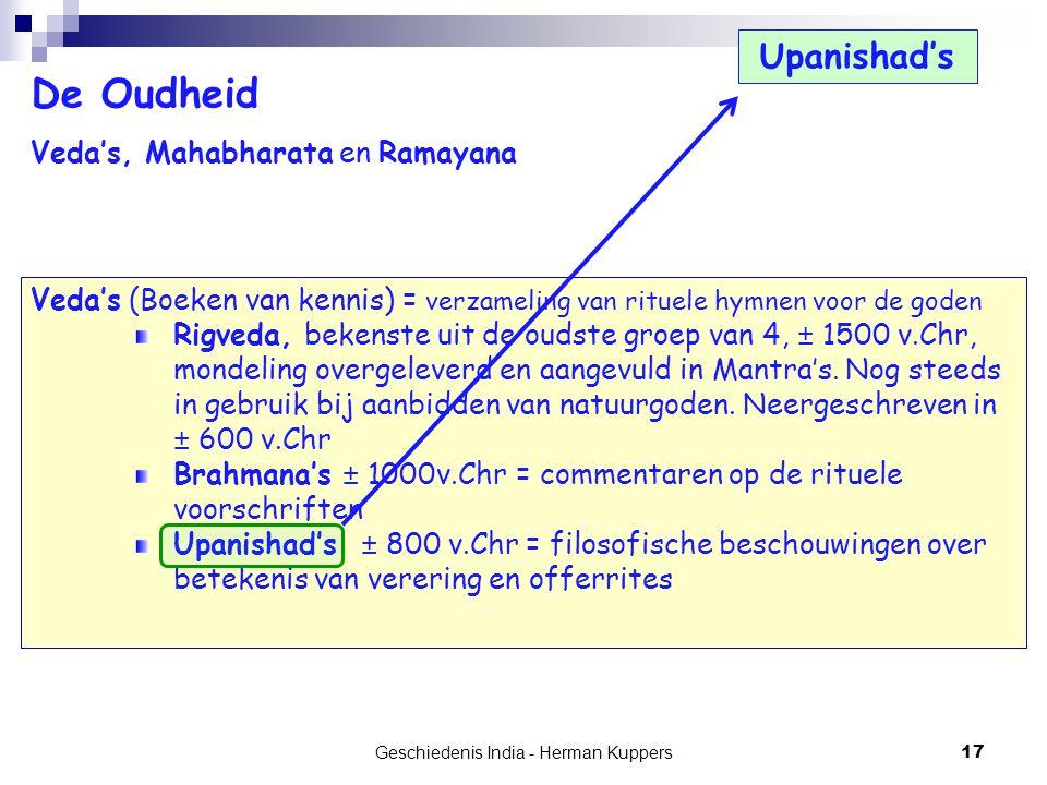 Geschiedenis India - Herman Kuppers 17 De Oudheid Veda's, Mahabharata en Ramayana Veda's (Boeken van kennis) = verzameling van rituele hymnen voor de