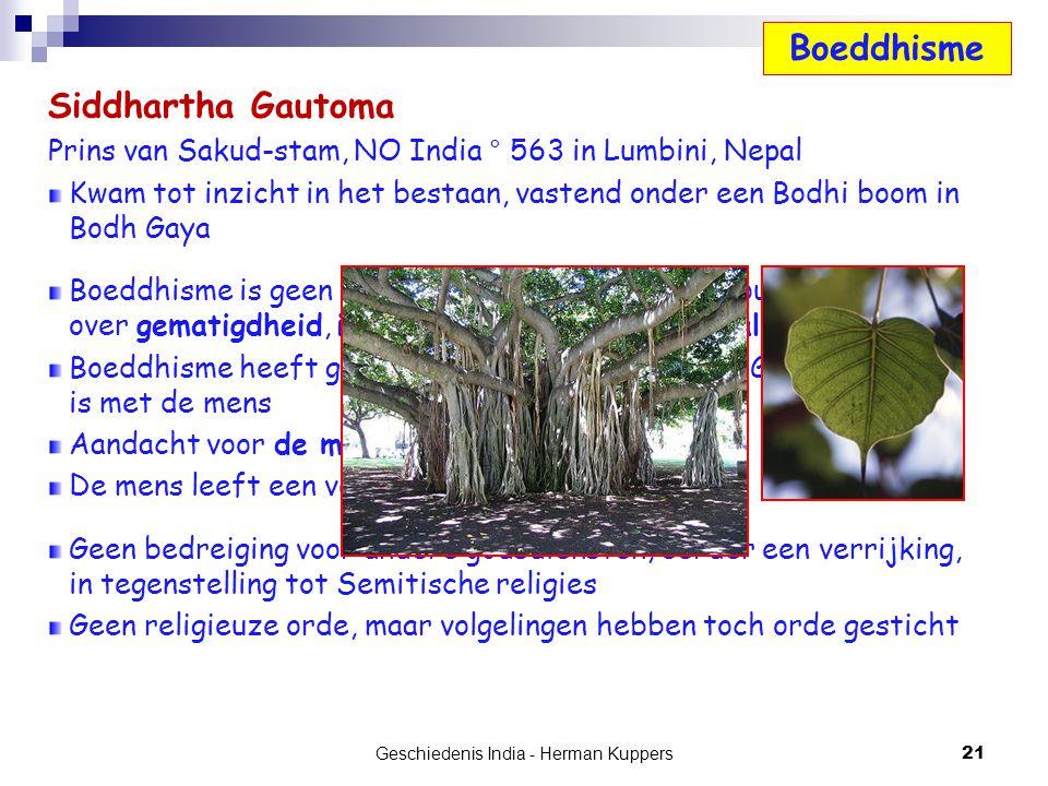 Siddhartha Gautoma Prins van Sakud-stam, NO India ° 563 in Lumbini, Nepal Kwam tot inzicht in het bestaan, vastend onder een Bodhi boom in Bodh Gaya B