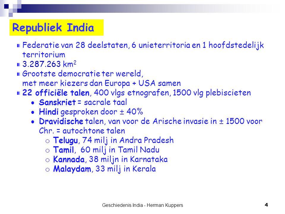 Geschiedenis India - Herman Kuppers 15 De Oudheid Veda's, Mahabharata en Ramayana Veda's (Boeken van kennis) = verzameling van rituele hymnen voor de goden Rigveda, bekenste uit de oudste groep van 4, ± 1500 v.Chr, mondeling overgeleverd en aangevuld in Mantra's.
