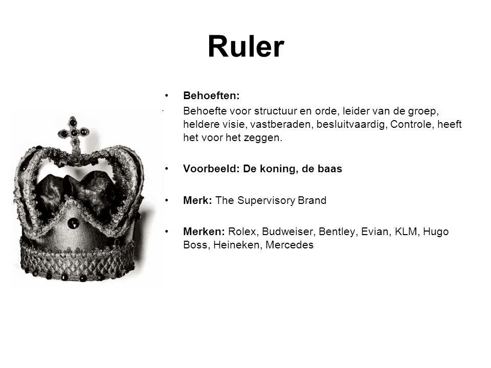 Ruler Behoeften: Behoefte voor structuur en orde, leider van de groep, heldere visie, vastberaden, besluitvaardig, Controle, heeft het voor het zeggen.