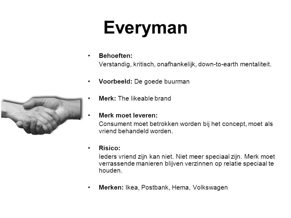Everyman Behoeften: Verstandig, kritisch, onafhankelijk, down-to-earth mentaliteit.