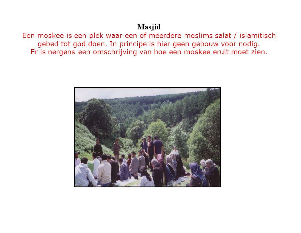Masjid Een moskee is een plek waar een of meerdere moslims salat / islamitisch gebed tot god doen. In principe is hier geen gebouw voor nodig. Er is n